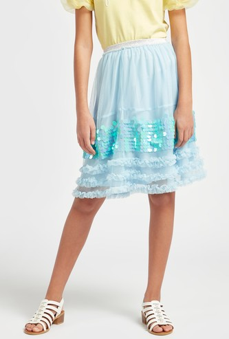 Sequin Detail A-line Tulle Skirt with Elasticised Waistband