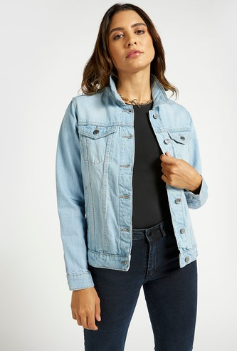 Solid Denim Jacket with Long Sleeves and Flap Pockets