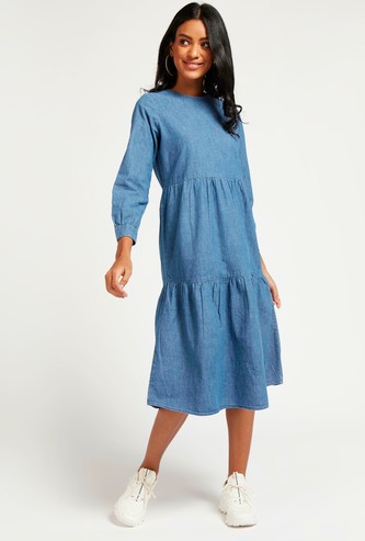Solid Denim Tiered Midi Dress with 3/4 Sleeves