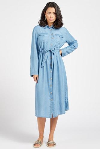 Denim Collared Midi Shirt Dress with Fabric Belt