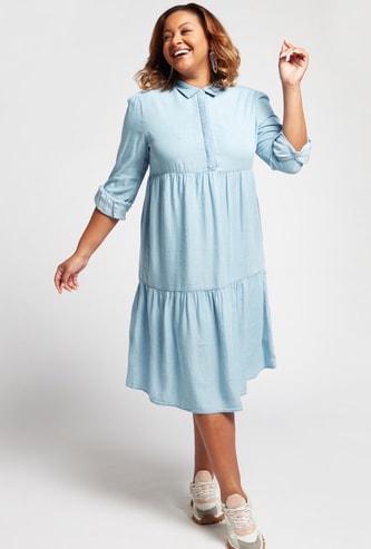 فستان ميدي سادة متعدد الطبقات بأكمام طويلة وياقة عادية