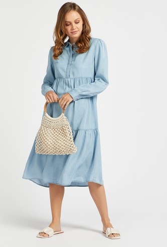 Solid Midi Tiered Dress with Long Sleeves and Collar