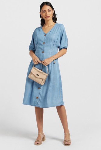 Solid Darted Denim Dress with Short Sleeves