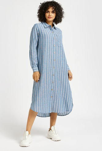 Striped Midi Shirt Dress with Spread Collar and Long Sleeves