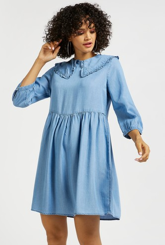 Solid Peter Pan Collared A-line Denim Dress with 3/4 Sleeves