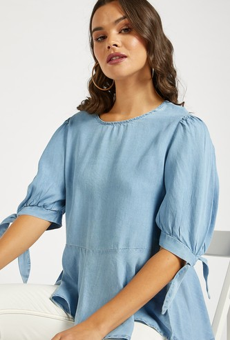 Solid Denim Peplum Top with Round Neck and Puff Sleeves