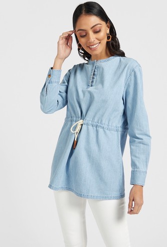Slim Fit Solid Denim Tunic with Long Sleeves and Tie-Ups