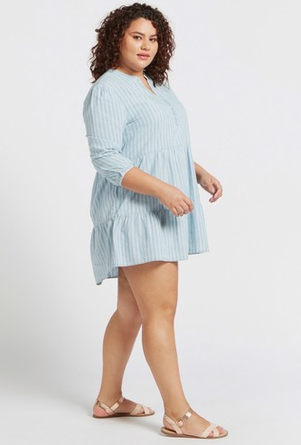 Striped Tiered Tunic with 3/4 Sleeves