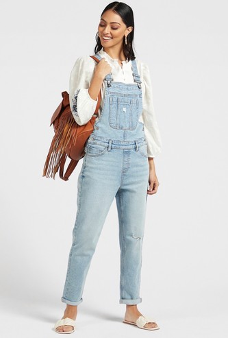Solid Mid-Rise Dungarees with Adjustable Straps and Pocket Detail