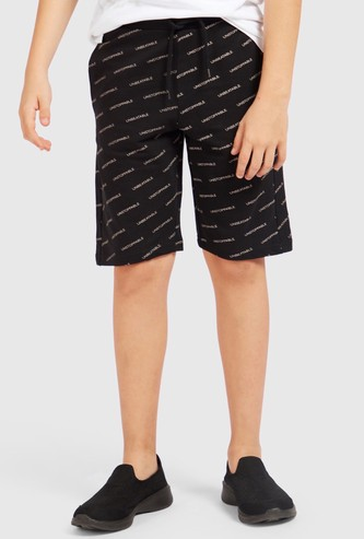 All-Over Text Print Shorts with Pockets and Drawstring