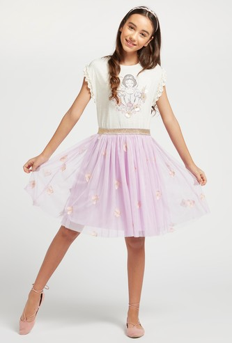Snow White Graphic Print Dress with Butterfly Mesh and Frill Detail
