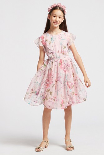 All-Over Floral Print Dress with Ruffle Detail and Cap Sleeves