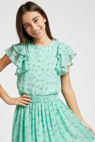 All-Over Floral Print Round Neck Top with Ruffle Detail