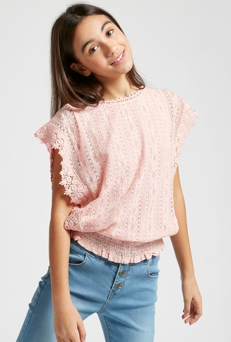 Smocked Waist Lace Top with Round Neck