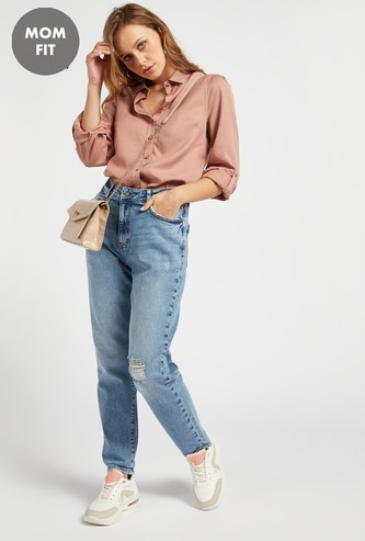 Distressed Mom Fit Jeans with Pocket Detail and Belt Loops