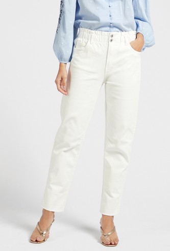 Mom Fit Solid High-Rise Jeans with Pocket Detail and Paperbag Waist
