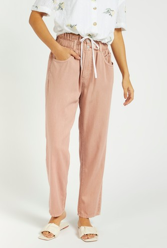 Solid Mom Fit Jeans with Paperbag Waist and Belt Loops