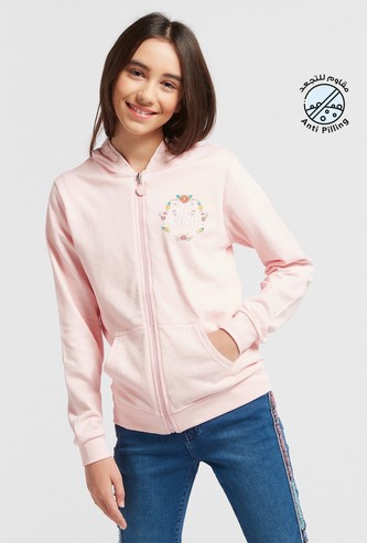 Graphic Print Jacket with Long Sleeves and Hood