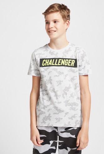 All-Over Print T-shirt with Crew Neck and Short Sleeves