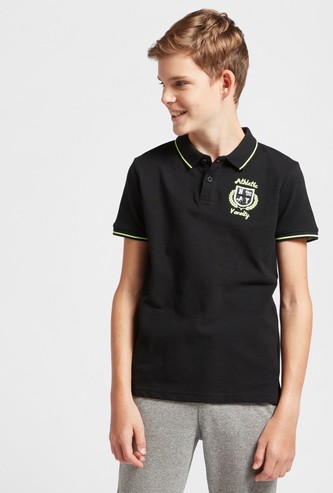 Embroidered Polo T-shirt with Piping Detail and Short Sleeves