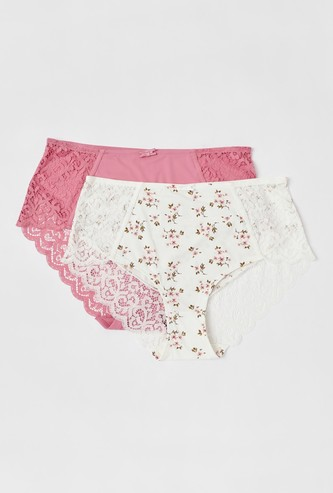 Set of 2 - Lace Detail Full Briefs with Elasticised Waistband