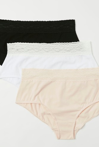 Pack of 3 - Lace Detail High-Rise Full Briefs with Elasticised Waist