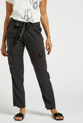 Solid Mid-Rise Cargo Pants with Pocket Detail and Elasticised Waist