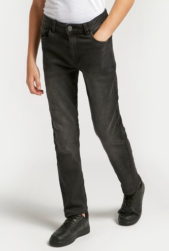 Solid Full Length Denim Jeans with Button Closure and Pockets