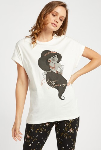 Princess Jasmine Print Round Neck T-shirt with Cap Sleeves
