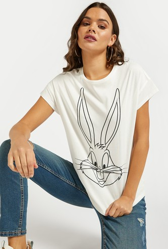 Bugs Bunny Print Round Neck T-shirt with Cap Sleeves