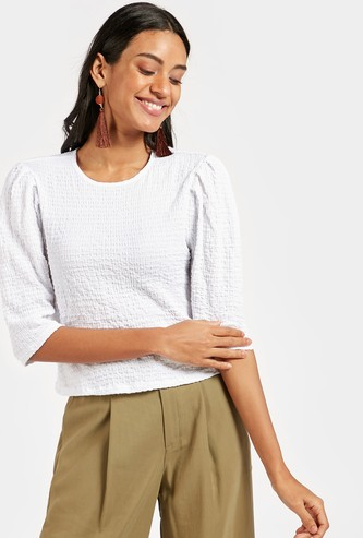 Textured Top with Round Neck and Leg-O-Mutton Sleeves