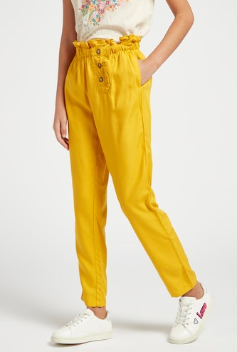 Full Length Solid Pants with Paper Bag Waist and Side Button Detail