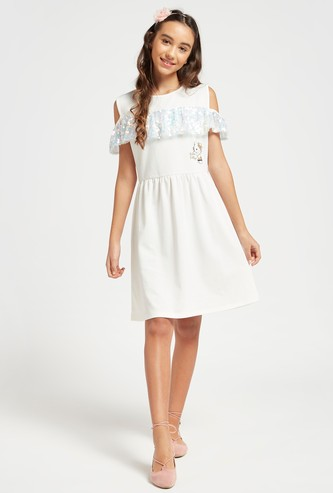 Hello Kitty Print Round Neck Cold Shoulder Dress with Frills