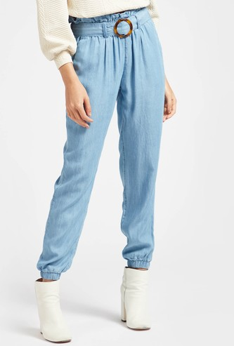 Solid Ankle Length Pants with Pockets and Paperbag Waist