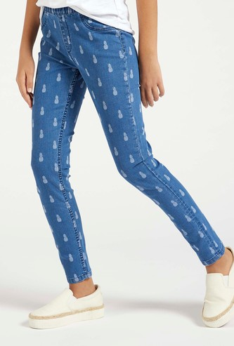 All-Over Pineapple Print Jeggings with Elasticised Waistband