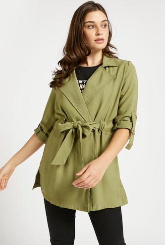 Solid Trench Coat with Tie Up Belt and Button Closure