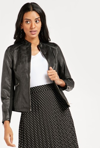 Solid Biker Jacket with Pockets and Long Sleeves
