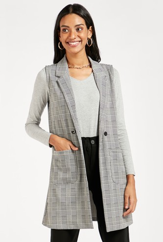 Chequered A-line Sleeveless Overcoat with Button Closure