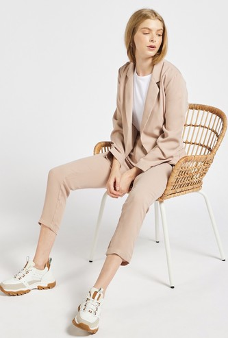 Solid Blazer with Long Sleeves and Tie-Ups