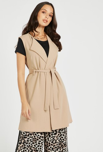 Solid Sleeveless Jacket with Belt