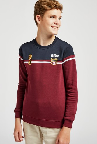 Colour Block Embroidered Sweatshirt with Long Sleeves