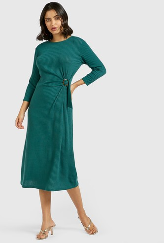 Ribbed Midi A-line Dress with Side Knot Detail and 3/4 Sleeves