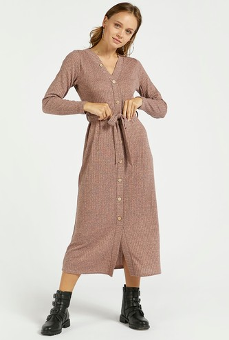 Ribbed Button Through Midi A-line Dress with Tie-Up Belt