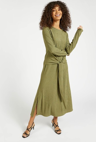 Textured Midi A-line Dress with Long Sleeves and Tie-Ups