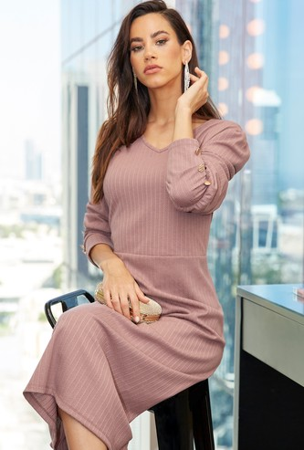 Textured A-line Midi Dress with Long Sleeves and Button Detail