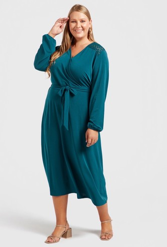 Solid Midi A-line Wrap Dress with V-neck and Tie-Ups