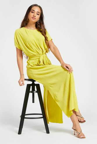 Textured Maxi A-line Dress with Extended Sleeves and Belt