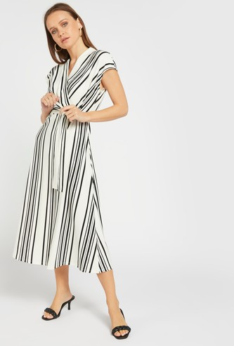 Striped Midi A-line Wrap Dress with V-neck and Tie-Ups