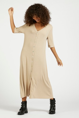 Ribbed Midi A-line Shirt Dress with V-neck and Short Sleeves