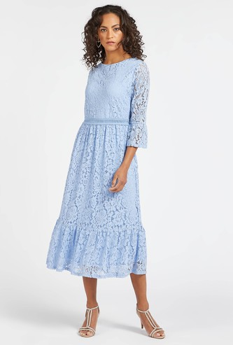 Lace Detail Midi Tiered Dress with Round Neck and 3/4 Sleeves